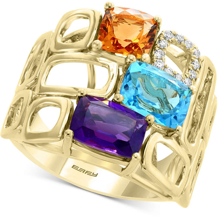 Effy Mult-Gemstone (4 ct. t.w.) & Diamond (1/10 ct. t.w.) Statement Ring in 14k Gold