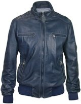 Forzieri Blue Soft Calf Leather Motorcycle Jacket