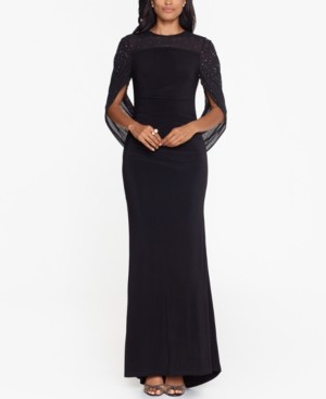 Betsy & Adam Cape-Sleeve Gown