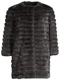 Glamour Puss Glamourpuss Women's Rex Rabbit Fur Three-Quarter Sleeve Corded Coat