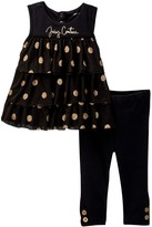Juicy Couture Glitter Dot Mesh Tunic & Legging Set (Baby Girls 12-24M)