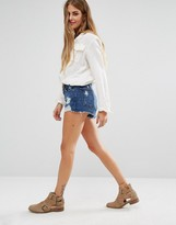 Lovers + Friends Jack High Rise Denim Shorts With Distressing