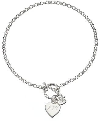 Personalised Sterling Silver Double Heart Drop T-Bar Bracelet