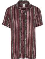 River Island Mens Purple aztec stripe short sleeve shirt