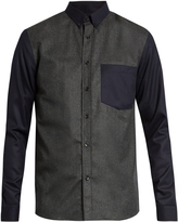 Ami Contrast-sleeve point-collar wool shirt