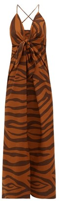 Mara Hoffman Lolita Tie-front Tiger-print Cotton Dress - Womens - Brown Print