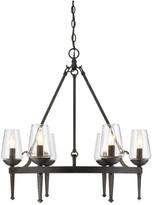 clear Golden Lighting Marcellis 6-Light Chandelier, Dark Natural Iron With Glass