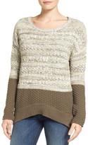 Caslon R) Colorblock Marl Knit Sweater (Petite)