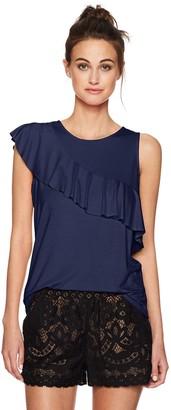 Three Dots Women's Classic Jersey Sleeveless Flounce Top