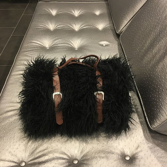 Ramtex/ Top Fabric Luxurious Shaggy Faux Fur Throw Blanket With Leather Belt, Black
