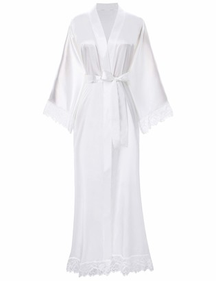 ArtiDeco Women's Kimono Dressing Gown Satin Kimono Robe Long Chinese Japanese Style for Nightwear Girl's Bonding Party Wedding Pajama Party 135cm/53inches (Pure White)
