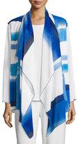 Caroline Rose Brushstroke Blues Waterfall Jacket, Blue/White, Plus Size
