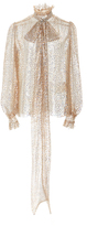 Rodarte Sequin Embellished Scarf Neck Blouse