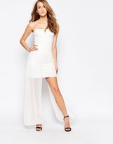 AX Paris Strapless Dress with Chiffon Maxi Overlay