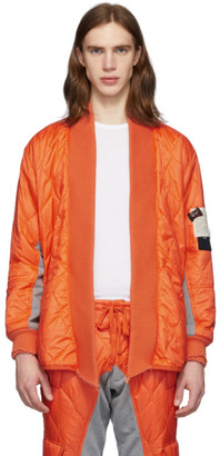 Greg Lauren Orange Paul and Shark Edition Quilted Kimono Jacket