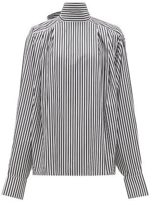 Matthew Adams Dolan - High-neck Striped Cotton Blouse - White Black
