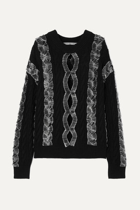 Alexander Wang Embellished Cutout Cable-knit Sweater - Black