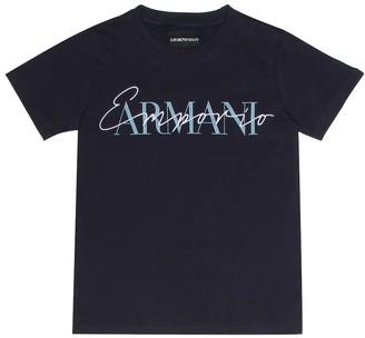 Emporio Armani Kids Embroidered cotton T-shirt
