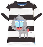 Joules Black and White Baboon Print Tee
