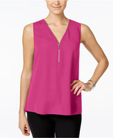 INC International Concepts Zip-Front Knit-Back Top, Only at Macy's