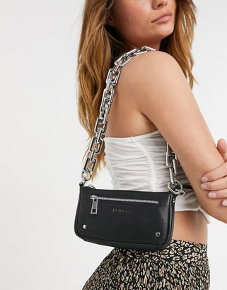 Nunoo Party leather shoulder bag with chunky chain in black