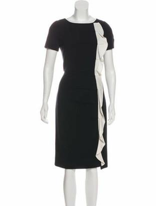 Valentino Pleated Midi Dress Black