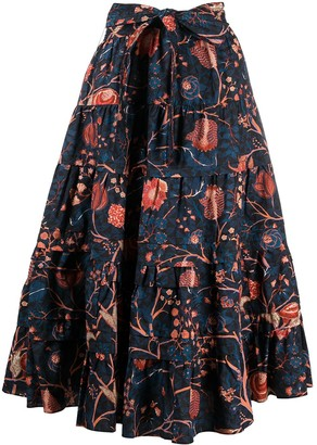 Ulla Johnson Floral-Print Tiered Skirt