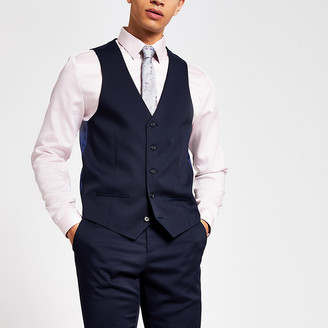 River Island Navy single-breasted waistcoat