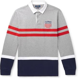 Polo Ralph Lauren Logo-Appliqued Striped Melange Cotton-Jersey Rugby Shirt