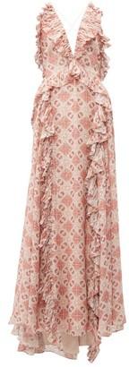 Jonathan Simkhai Ruffled Tile-print Silk-blend Gown - Beige Multi
