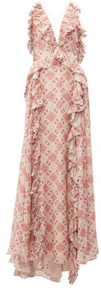 Jonathan Simkhai Ruffled Tile-print Silk-blend Gown - Womens - Beige Multi