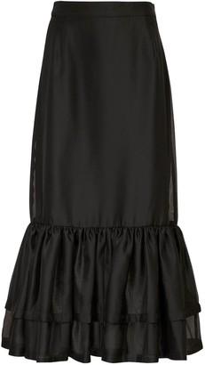 Designers Remix Enola Ruffled Chiffon & Satin Midi Skirt