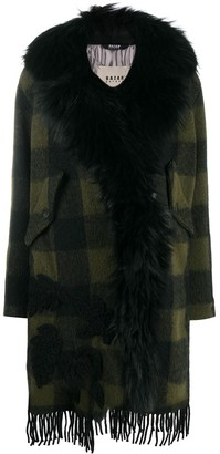 Bazar Deluxe Checked Faux-Fur Trimmed Coat