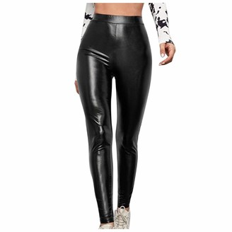 Jiegorge Plus Size Pants Women Leather Pants High Waist Large Size Stretch Slim Slimming Leggings