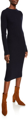Vince Ribbed Crewneck Long-Sleeve Midi Dress