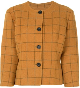 Christian Dior Check Print Fitted Jacket
