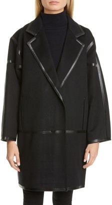 Max Mara Nizza Leather Trim Wool & Cashmere Wrap Coat