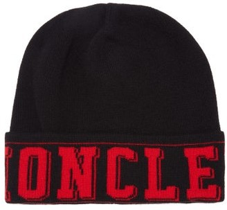 Moncler Logo Wool-blend Beanie Hat - Mens - Black Red