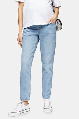 Topshop Womens **Maternity Over The Bump Bleach Stone Mom Jeans - Bleach Stone