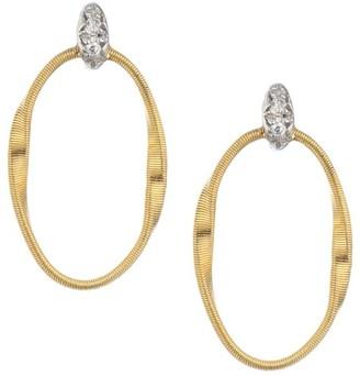 Marco Bicego Marrakech Onde 18K Yellow Gold & Diamond Coil Oval Hoop Earrings