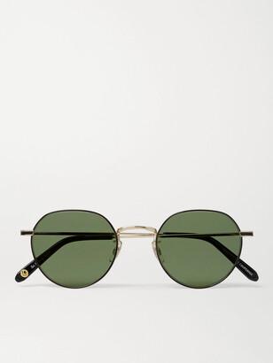 Garrett Leight California Optical Robson Round-Frame Gold-Tone Stainless Steel Sunglasses