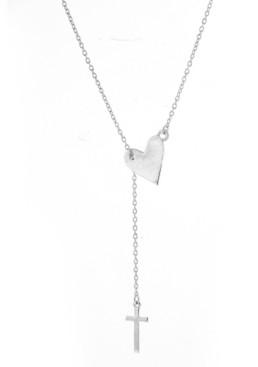 ADORNIA Heart Cross Lariat Necklace