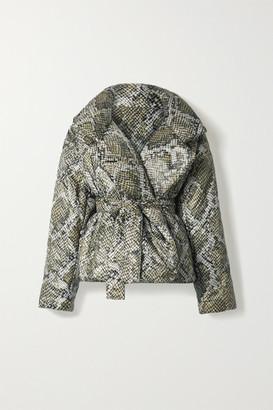 Norma Kamali Sleeping Bag Oversized Snake-print Shell Coat - Army green