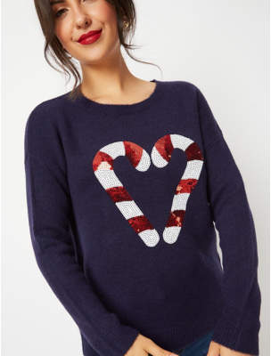 George Navy Sequin Candy Cane Christmas Jumper