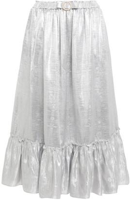 Shrimps Gathered Faux Pearl-embellished Metallic Jacquard Midi Skirt