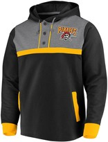 Men's Fanatics Branded Black/Heathered Gray Pittsburgh Pirates True Classics Button-Up Henley Pullover Hoodie