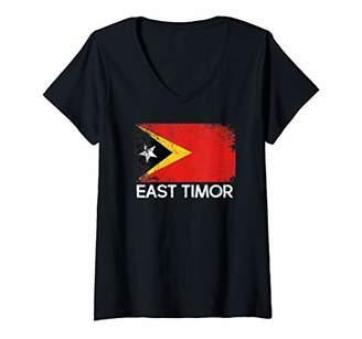 Womens Timorese Flag | Vintage Made In East Timor Gift V-Neck T-Shirt