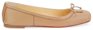 Christian Louboutin Mamadrague Square-Toe Leather Ballet Flats