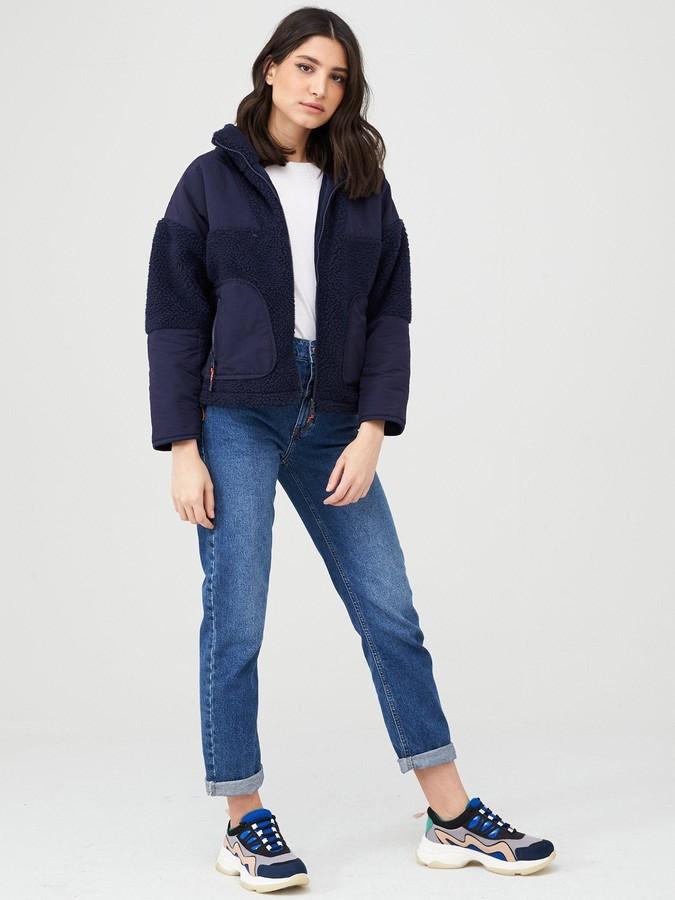 Very Faux Shearling Fleece Panelled Jacket - Navy