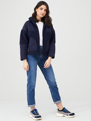 Very Faux Shearling Fleece Panelled Jacket - Navy